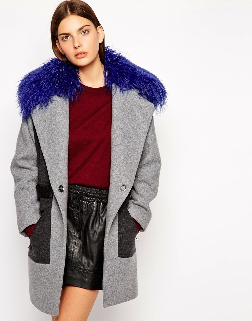 blue fur collar coat