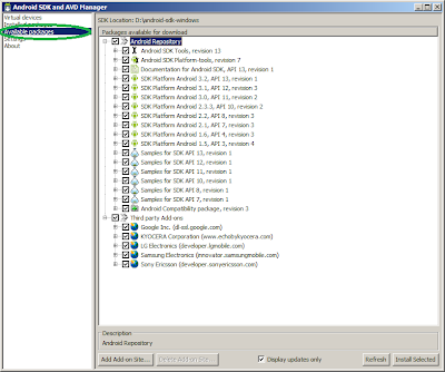 Download Available Android Software Development kit packeges