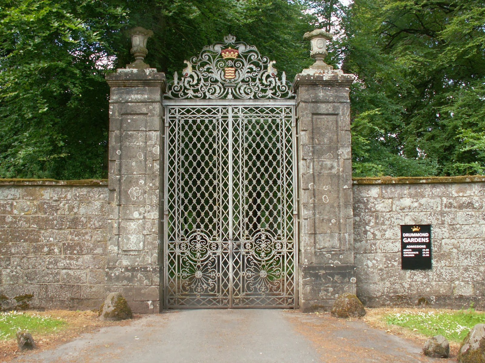 Drummond Castle Gates on inside balmoral castle
