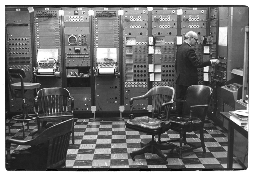 Milton Babbitt with RCA Synthesizer at Columbia Princeton Electronic Music Studio