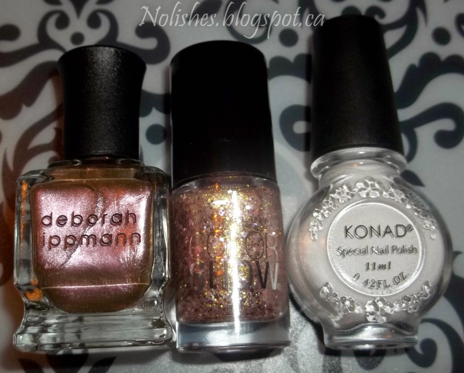 Deborah Lippmann 'Sugar Daddy', Mabelline Color Show 'Gilded Rose', and Konad Special Polish in White