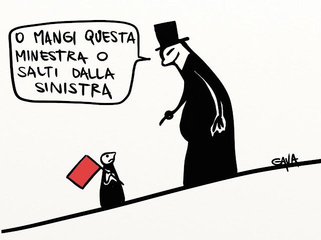 gava gavavenezia vignette satira illustrazioni infanzia cartoons fumetti caricature ridere pensare piangere windows finestre sinistra bandiera rossa minestra governo letta