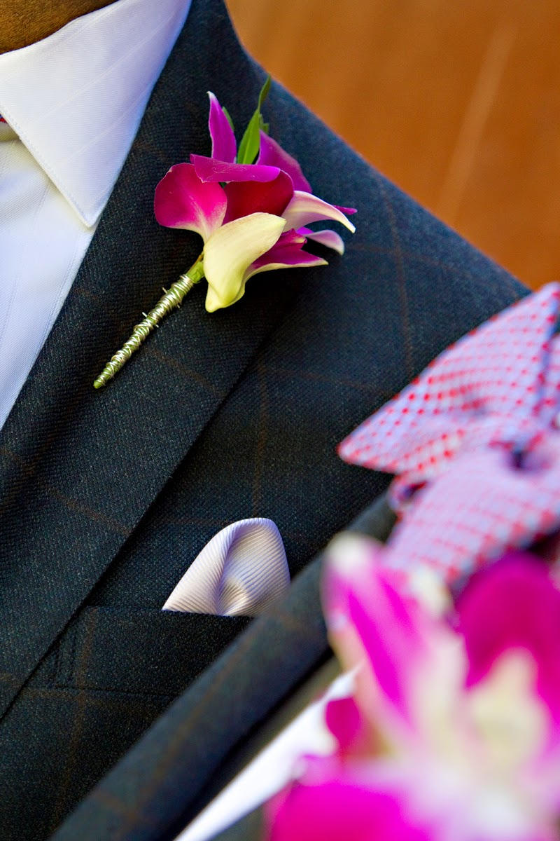 Magenta orchid boutonnier and bowtie - Patricia Stimac, Seattle Wedding Officiant