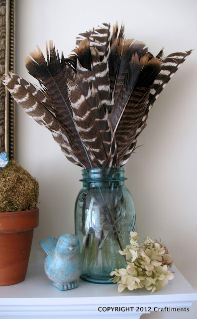 Feathers in a Mason Jar by Craftiments.com