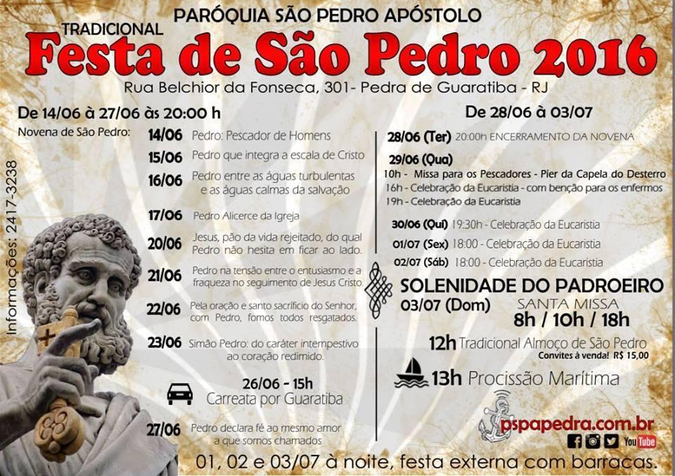 FESTA DE SÃO PEDRO 2016 - PARÓQUIA SÃO PEDRO - PEDRA DE GUARATIBA - RIO