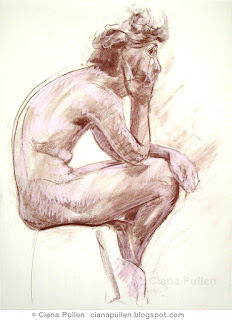 Figure Drawing of a Seated Man, by Ciana Pullen