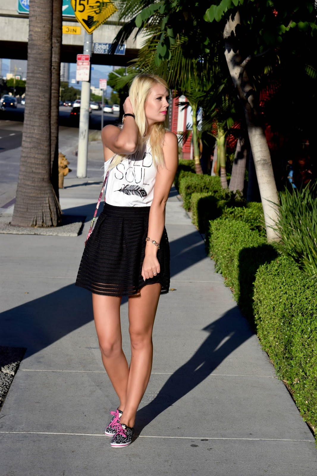 Black skirt, printed tank top, kate spade, kate spade sneakers, love sneakers, kate spade love, kate spade clutch, rose purse, kate spade rose purse