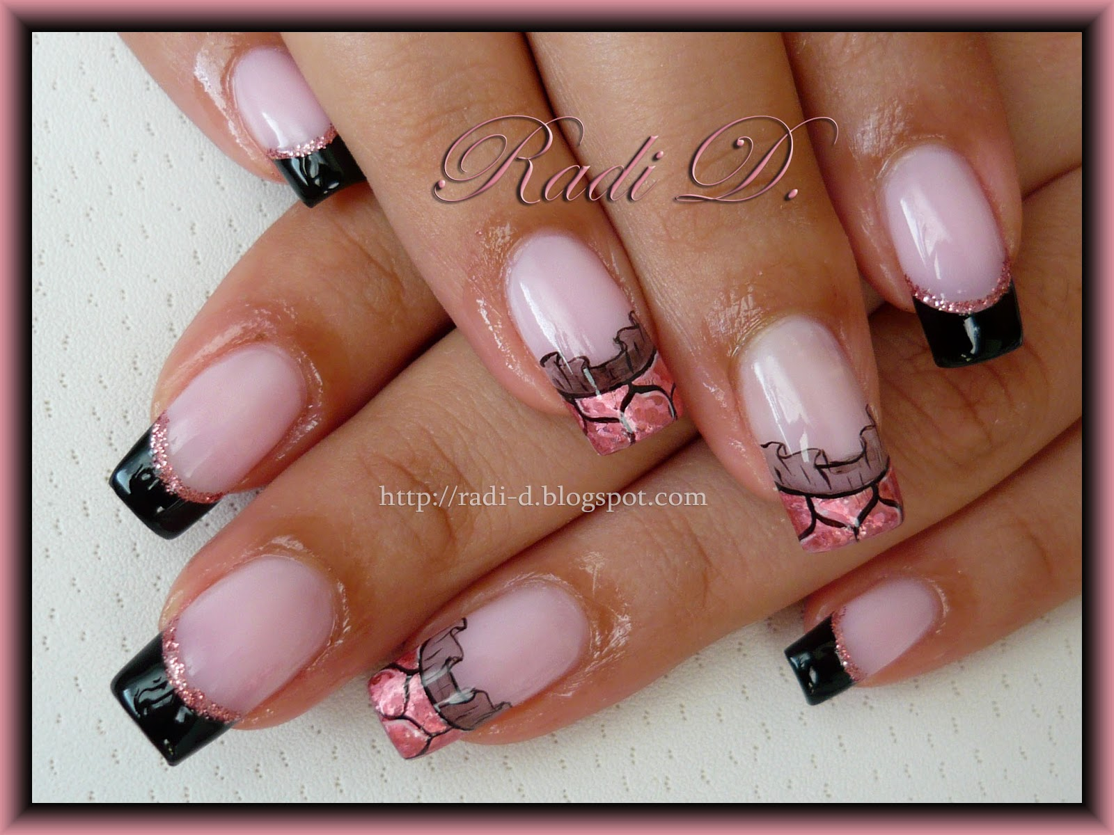 It`s all about nails: Black French, Pink Foil & Lace