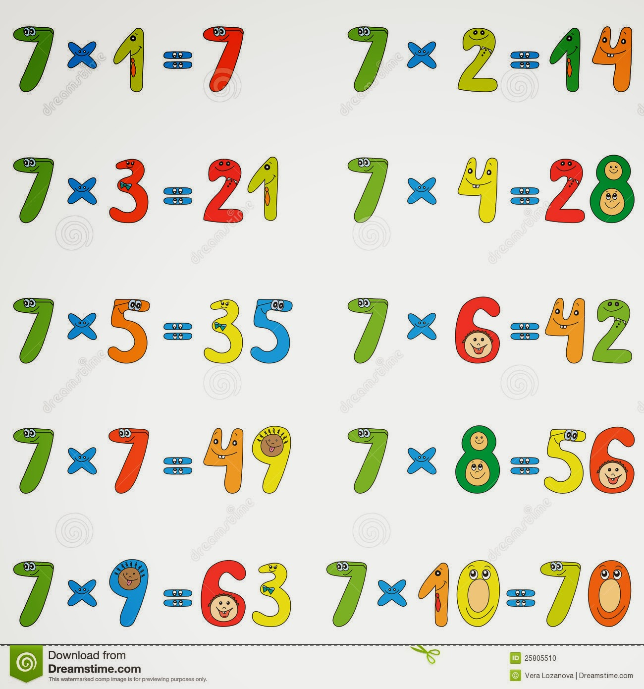 multiplication table de multiplication 6 7 8 9