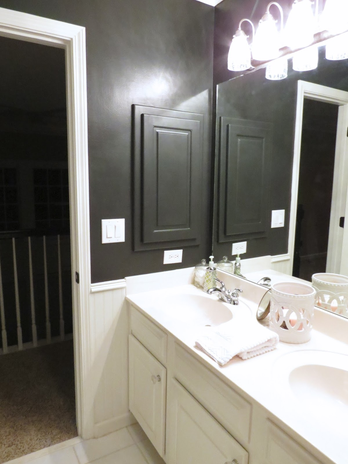 TiffanyD: Our Little Black Satin Bathroom