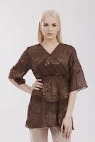 Bluza maro din voal cu broderie B218 (Ama Fashion)