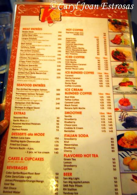 Bs Restaurant Menu Missola