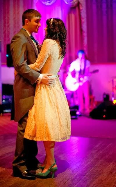 Chelsea's vintage inspired wedding, 1950s dress, bride and groom dancing c Heavenly Vintage Brides