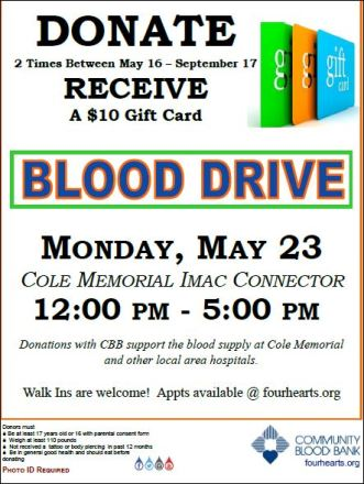 5-23 Blood Drive At Cole Memorial