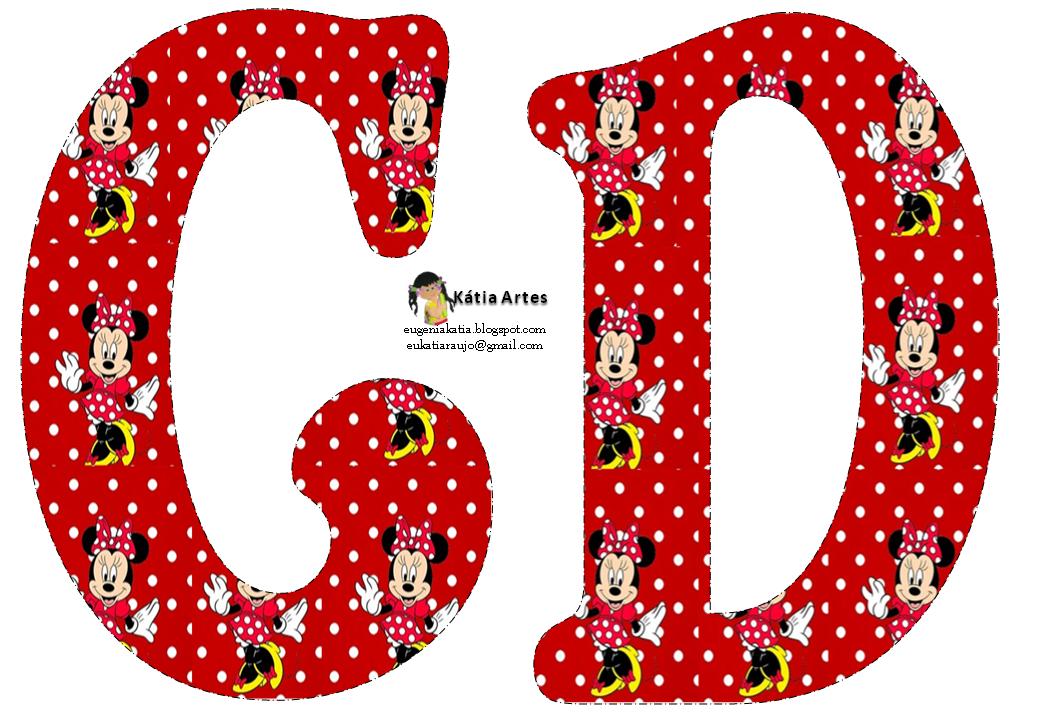 Alfabeto De Minnie Mouse En Fondo Rojo Con Lunares Blancos