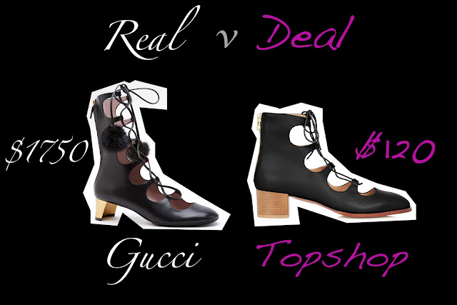 Real versus Deal Gucci lace up boot versus topshop lace up boot