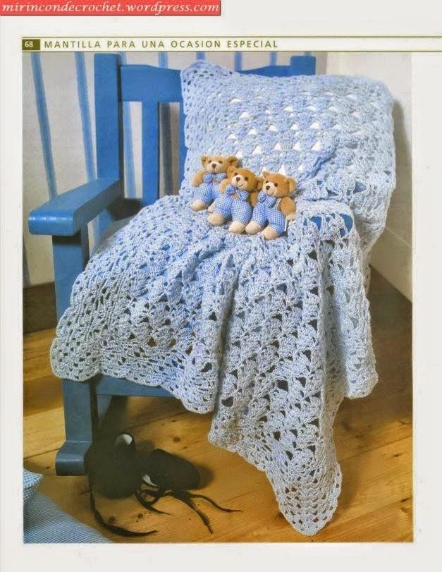 Patrones crochet de mantilla para bebé | Crochet y Dos agujas ...
