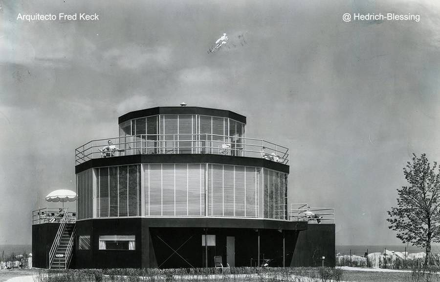 Casa moderna redonda de tres plantas en Chicago 1933