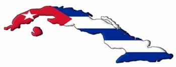 mapa de cuba con bandera