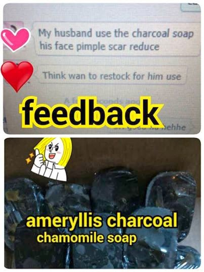 feedback customer ameryllis charcoal chamomile soap reduce pimple scar and oily skin