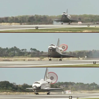 Shuttle Discovery's Touchdown on runway 15 of Kennedy Space Centre at 16:57hr UTC, 9 March 2011. NASA, 2011.