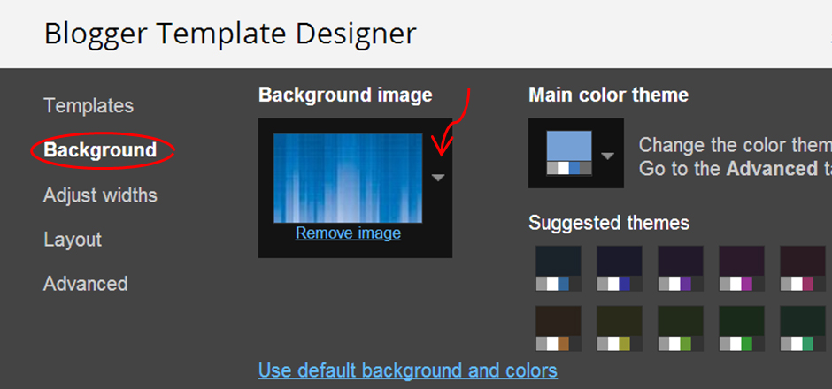 how to change the background color photo of blogger template