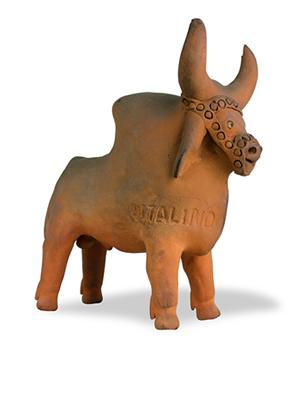 Boi, escultura em barro cozido, década de 1960. 20 x 8 x 19 cm.