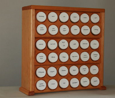 wood spice rack, countertop, for 36 bottles