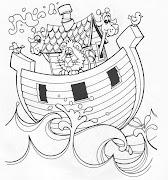 El arca de Noe con animales para colorear. Dibujos cristianos para colorear, .