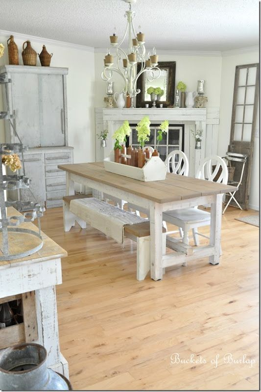 Love The Styling Of The Legs And The Classic Farmhouse Table Topu2026the Cushy  Benches Are Fun!