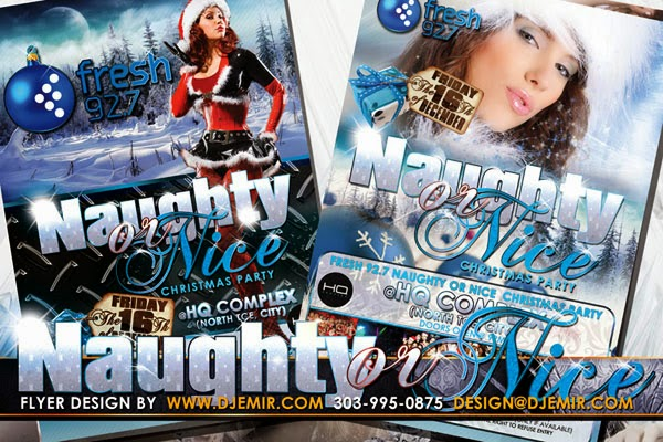 Fresh 92.7 FM Naughty or NiceSexy Santa Christmas Party Flyer Design Australia