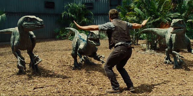 "Chris Pratt attempts to tame velociraptors in ""Jurassic World"""