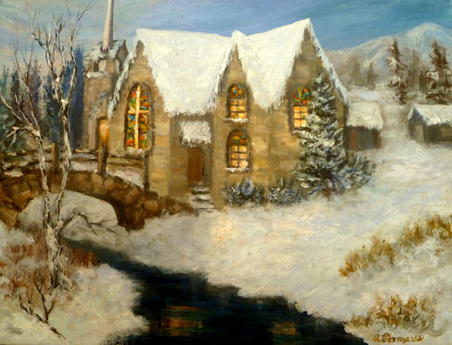 Painting of winter landscape and church