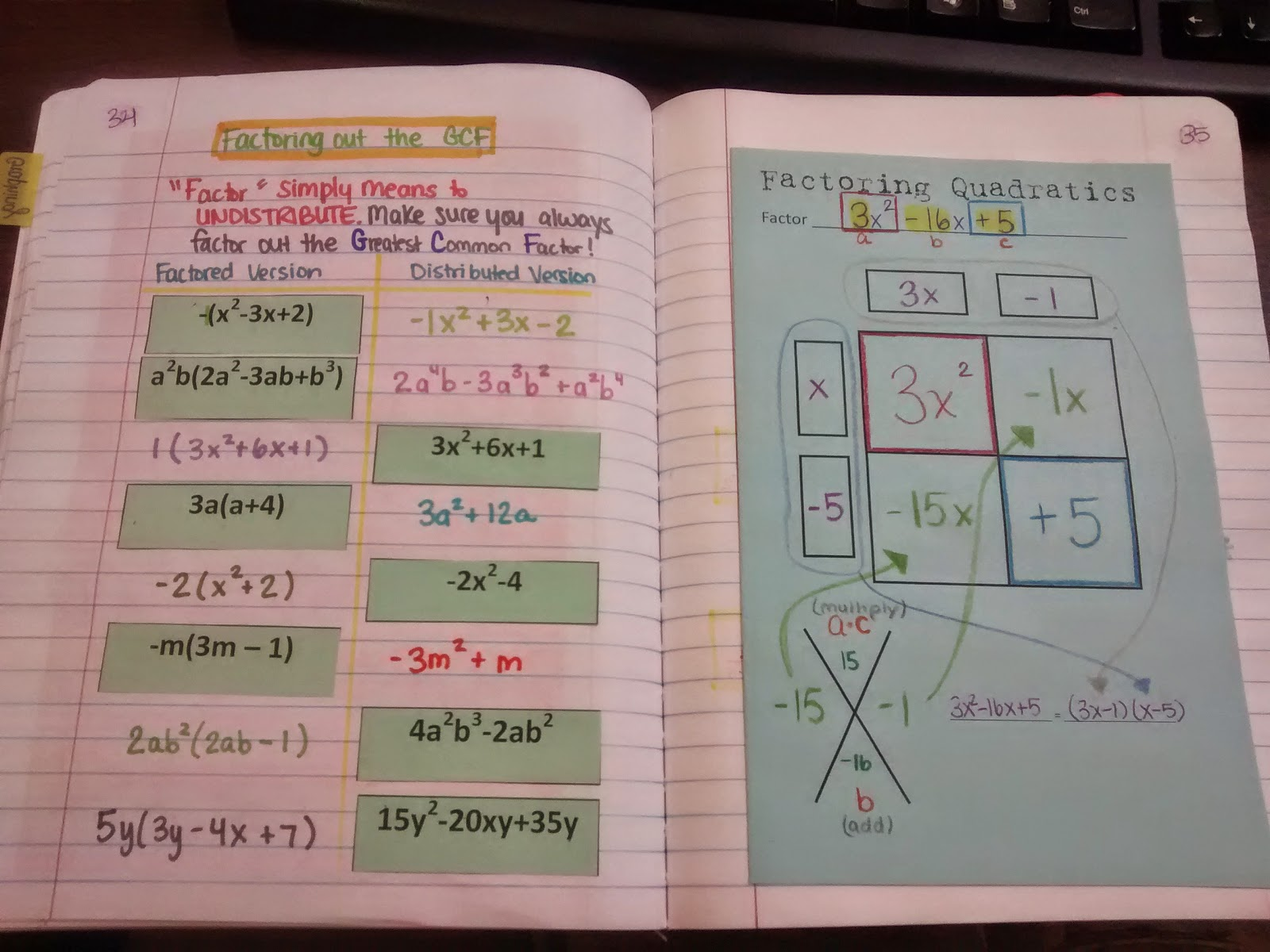 Algebra 2 Interactive Notebook Pages on Algebra 2 Factoring Polynomials Worksheet 1