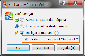 como restaurar snapshot no virtualbox
