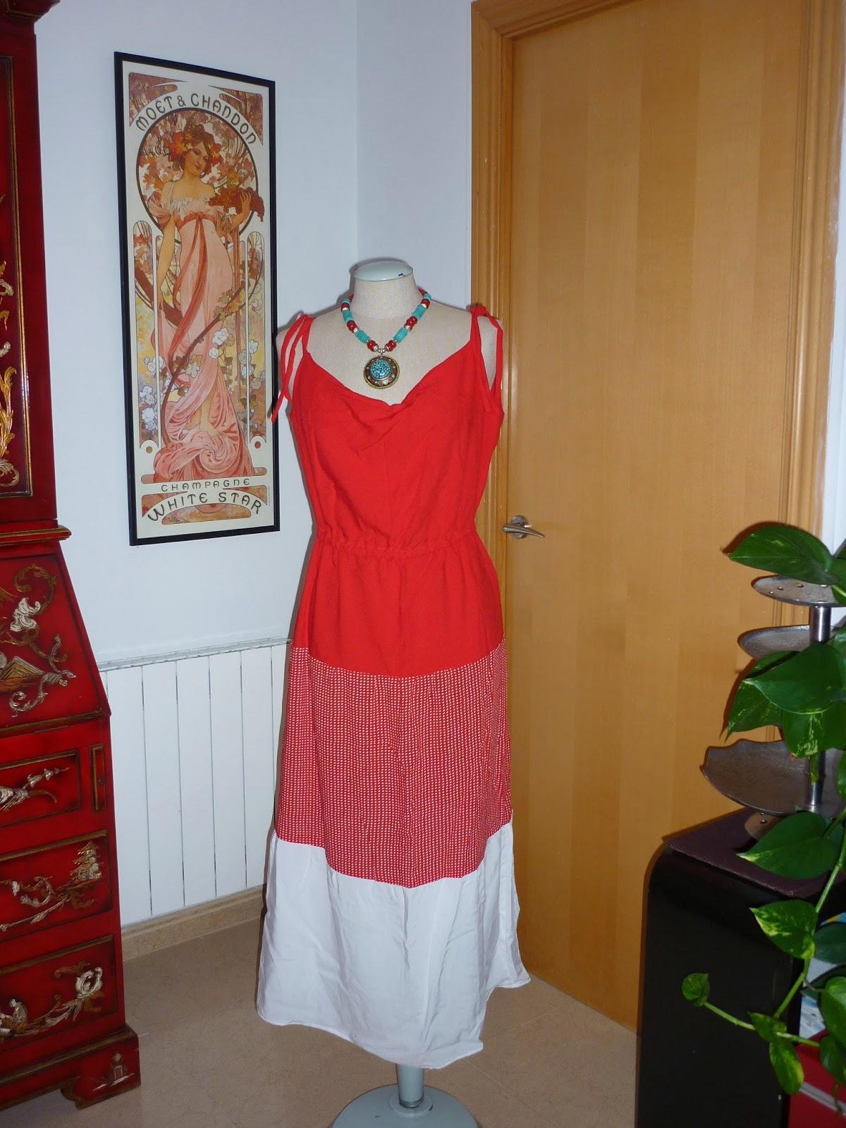 vestido burda 119 julio 2014 07/2014 dress volantes rojo y blanco san fermin modistilla de pacotilla rums