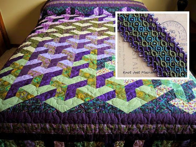 Quilt in purple and green colors inspired a macrame bracelet.