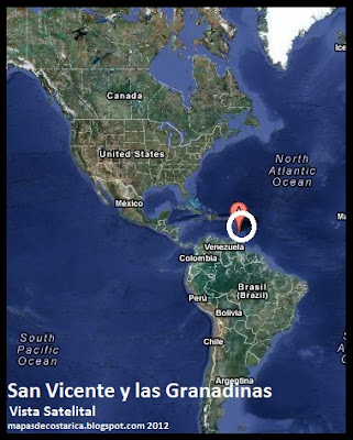 Mapa de San Vicente y las Granadinas en América, Vista Satelital