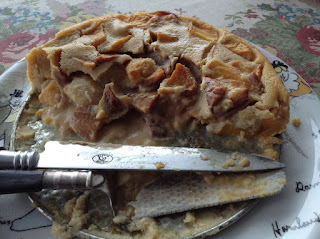 Tarta de crema y melocotón, receta