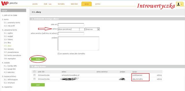 Tworzenie aliasu pocztowego