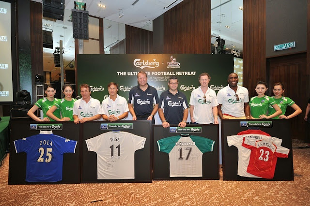 Gianfranco Zola, Dennis Wise, Henrik Andersen Managing Director of Carlsberg Malaysia, Ted Akiskalos Managing Director of Carlsberg Hong Kong, Steve McManaman and Sol Campbell at Carlsberg's 'Ultimate Football Retreat'