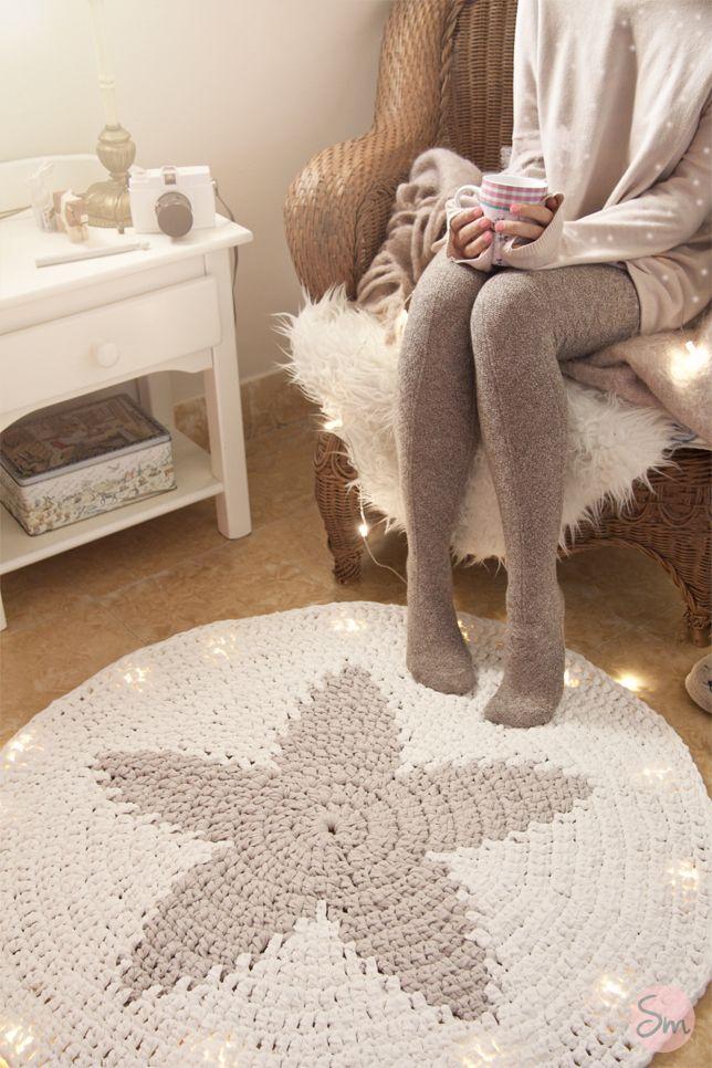 Miss cereza diy alfombra de trapillo con forma de estrella - Alfombras de trapillo ...