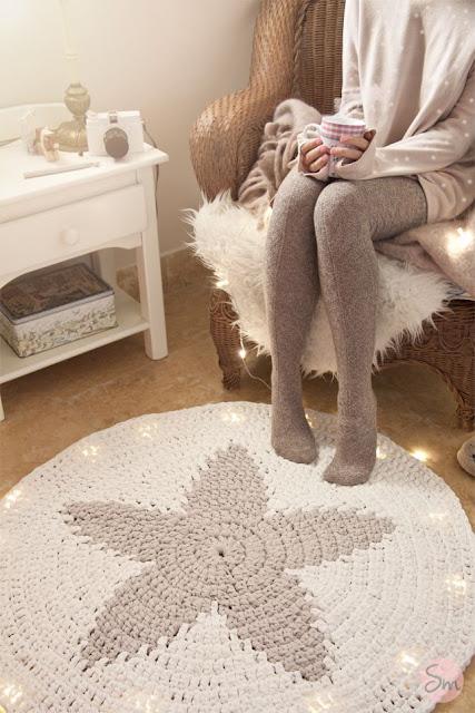 Diy alfombra de trapillo de estrella