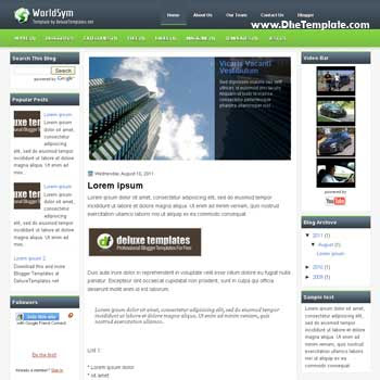 WorldSym blogger template. 3 column blogspot template