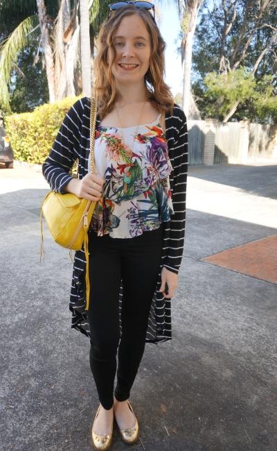 print mixing skinny jeans striped maxi cardi botanic print ruffle cami