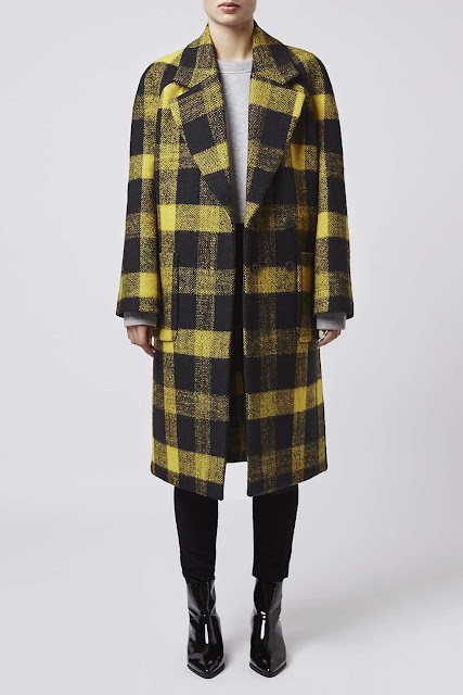 topshop boutique checked coat, yellow black check coat,