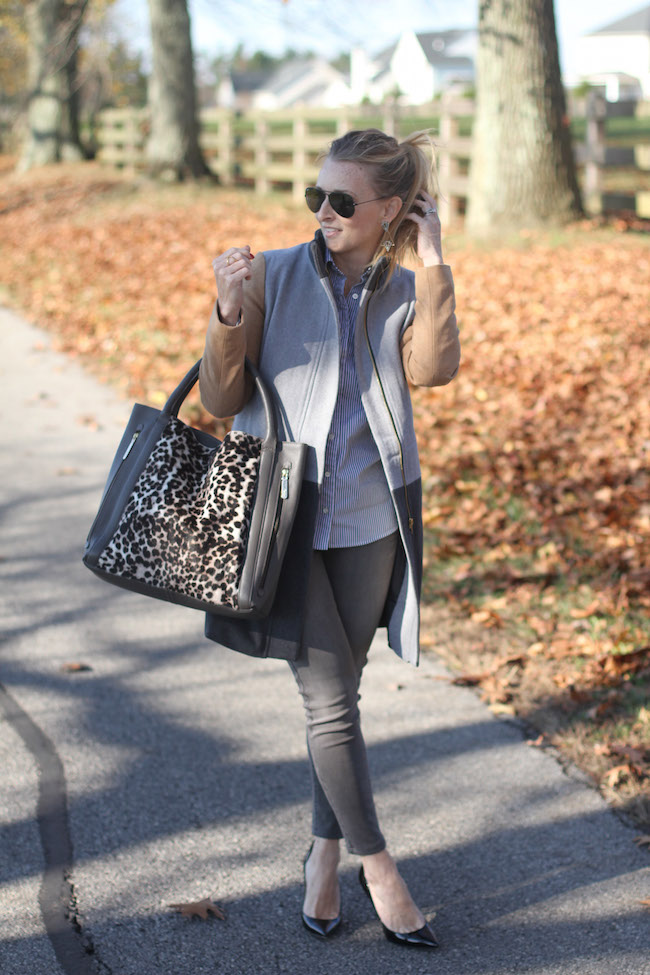 ray ban sunnies, shein coat, boden bag, grey jeans