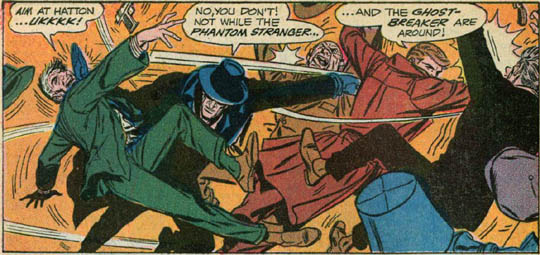PS 2: Phantom Stranger and Dr. Thirteen battling thugs, one of latter exclaiming 'Ukkkk'