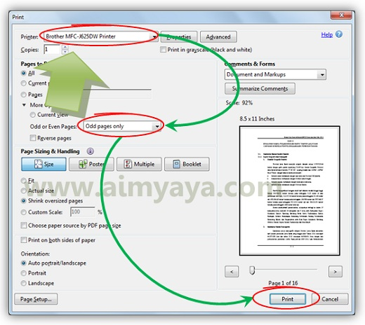 Gambar: Cara mencetak file dokumen PDF halaman ganjil / genap menggunakan Adobe Reader XI