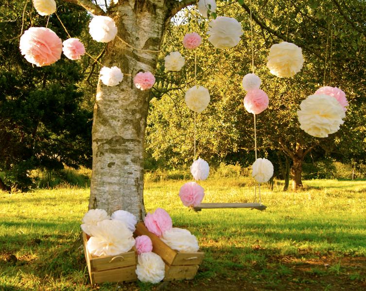 Momentips diy 1 pompones de papel - Jardines decorados para fiestas ...